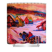 Beautiful Village Ride Shower Curtain