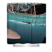 Beautiful Vintage Blue Shining Car Close Up Shower Curtain