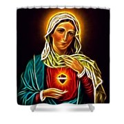 Beautiful Virgin Mary Sacred Heart Shower Curtain