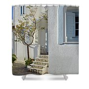 Beautiful White Mediterranean Architecture With Blue Frames. Shower Curtain