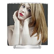 Beautiful White Woman On Red Chair Shower Curtain