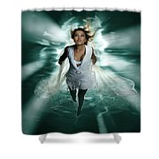 Beautiful Woman Diving In The Water Shower Curtain
