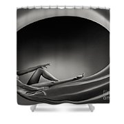 Beautiful Woman In A Whirl Of Power Shower Curtain