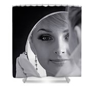 Beautiful Woman In Bridal Veil Looking At A Mirror Shower Curtain