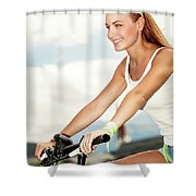 Beautiful Woman On The Bicycle Shower Curtain