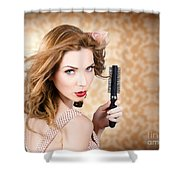 Beautiful Woman With Short Red Hair. Hairdressing Shower Curtain