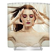 Beautiful Woman With Windswept Hair Shower Curtain