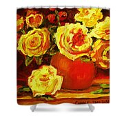 Beautiful Yellow Roses Shower Curtain
