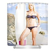 Beautiful Young Blond Surf Woman Shower Curtain