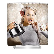 Beautiful Young Retro Woman With Cup Of Coffee Shower Curtain