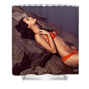 Beautiful Young Woman In Orange Bikini Shower Curtain