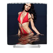 Beautiful Young Woman In Red Swimsuit Standing In Water Shower Curtain