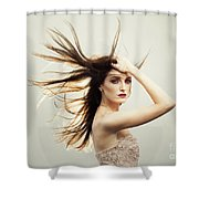 Beautiful Young Woman With Windswept Hair Shower Curtain