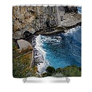 Beautifully Carved Out Swimming Deck On The Edge Of The Sea On The Amalfi Coast In Italy  Shower Curtain