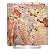 Beautifully Colored Boulders In Wash 3 - Valley Of Fire Shower Curtain