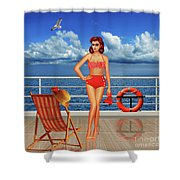 Beauty From The 50s In Bikini  Shower Curtain