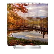 Beauty Of The Lake In Autumn Deep Tones Shower Curtain