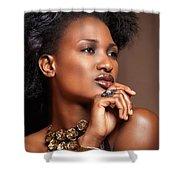 Beauty Portrait Of Black Woman Wearing Jewelry Shower Curtain