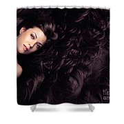 Beauty Portrait Of Woman Surrounded By Long Brown Hair  Shower Curtain