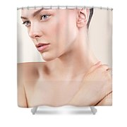 Beauty Portrait Of Young Woman With Clean Natural Look Shower Curtain