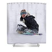 Beauty Sliding Backwards With A Smile Shower Curtain