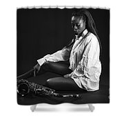 Beauty With Sax Shower Curtain