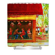 Beautys Cafe With Red Awning Shower Curtain