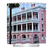 Beauutiful Pink Colonial Style Mansion Shower Curtain