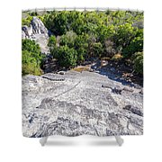 Becan Pyramids Looking Down Shower Curtain