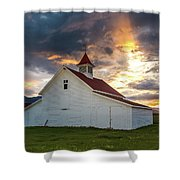 Beckwith Ranch At Sunset With Crepuscular Rays And Virga Shower Curtain