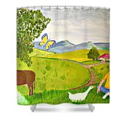 Becky And The Butterfly Shower Curtain