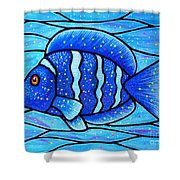 Beckys Blue Tropical Fish Shower Curtain