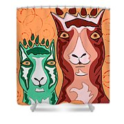 Bedazzled Llamas Shower Curtain