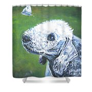 Bedlington Terrier With Butterfly Shower Curtain
