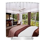 Bedroom With Brown And Cream Theme Shower Curtain