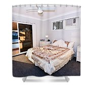 Bedroom With River View Shower Curtain