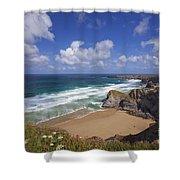 Bedruthan Steps Beach And Atlantic Surf In Summer Sun Cornwall  Shower Curtain