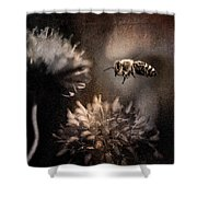 Bee Approaching Red Clover Blossom Shower Curtain