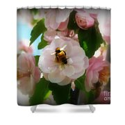 Bee Blossoms Shower Curtain