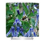 Bee Buzzing Through Blue Beauty Shower Curtain