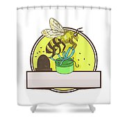 Bee Carrying Gift Box Skep Circle Drawing Shower Curtain