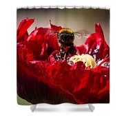 Bee Front With Red Flower Shower Curtain