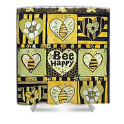 Bee Happy Shower Curtain by Jen Norton