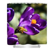 Bee In Flight Shower Curtain