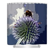 Bee On An Allium Shower Curtain
