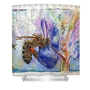 Bee On Blue Lupin Blossom. Shower Curtain