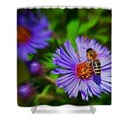 Bee On Lavender Flower Shower Curtain