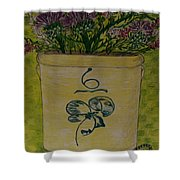 Bee Sting Crock With Good Luck Bow Heather And Thistles Shower Curtain