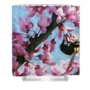 Bee To The Blossom Shower Curtain