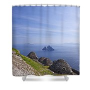 Beehive Stone Huts, Skellig Michael County Kerry Ireland Shower Curtain